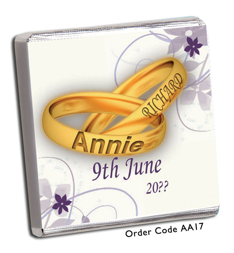 Gold Rings and Purple Flowers Anniversary Favour - Chunky Monkey Chocolate