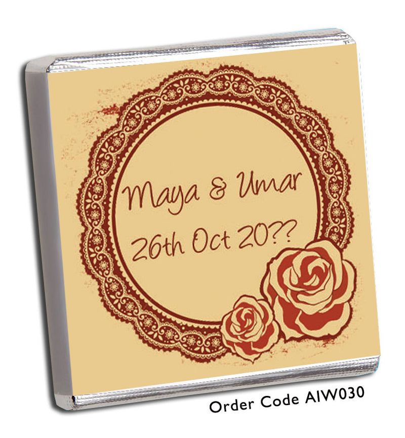 Burnt Red Lace Design With Rose Detail Wedding Favour - Chunky Monkey Chocolate