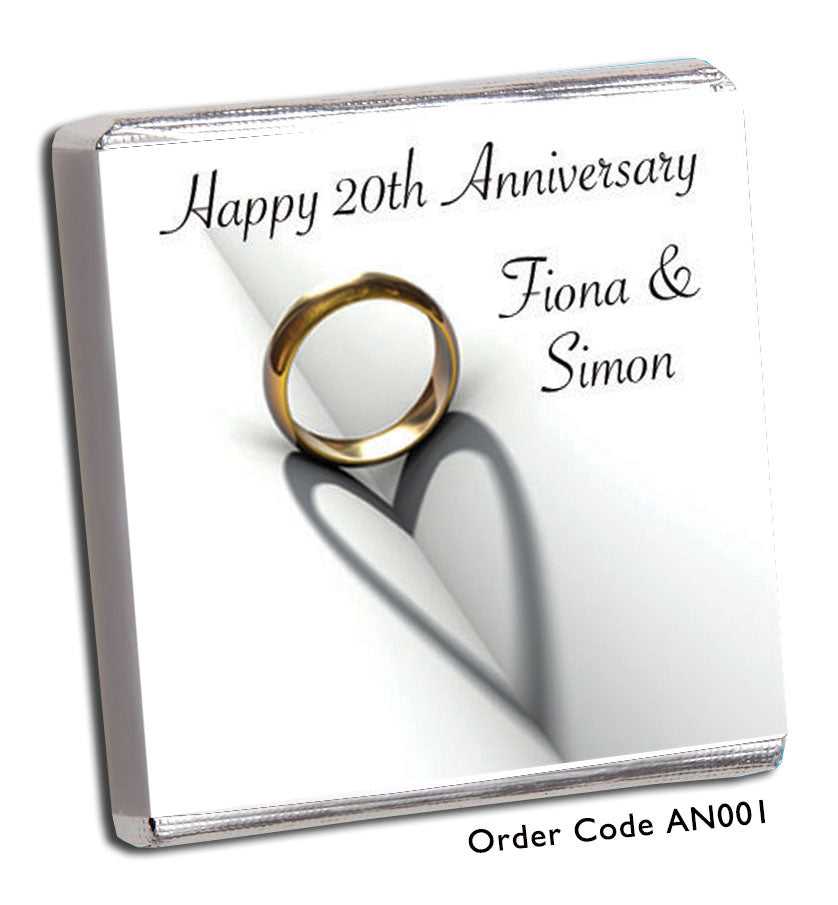 Golden Wedding Anniversary Chocolate Favours - Chunky Monkey Chocolate