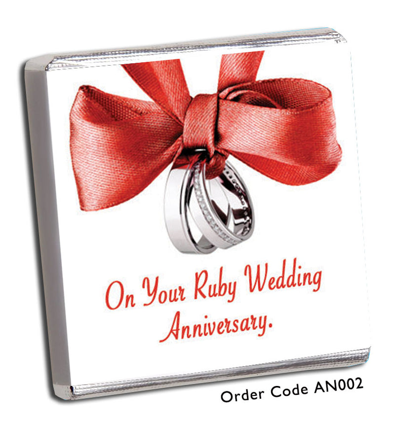 Red Bows With Silver Rings Anniversary Favour - Chunky Monkey Chocolate
