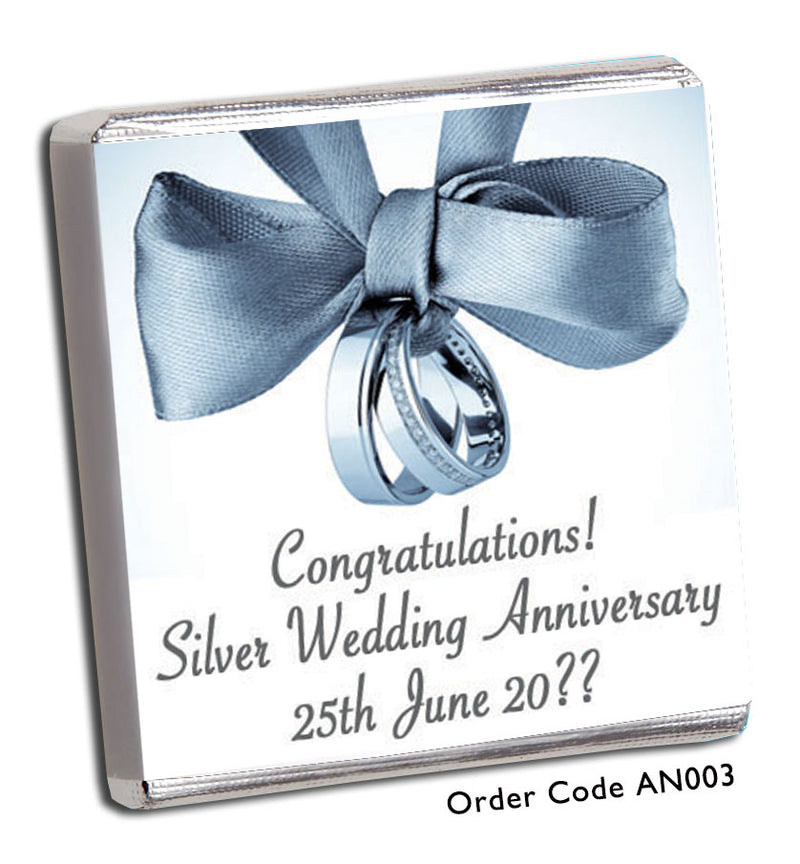 Silver Wedding Anniversary Favour - Chunky Monkey Chocolate