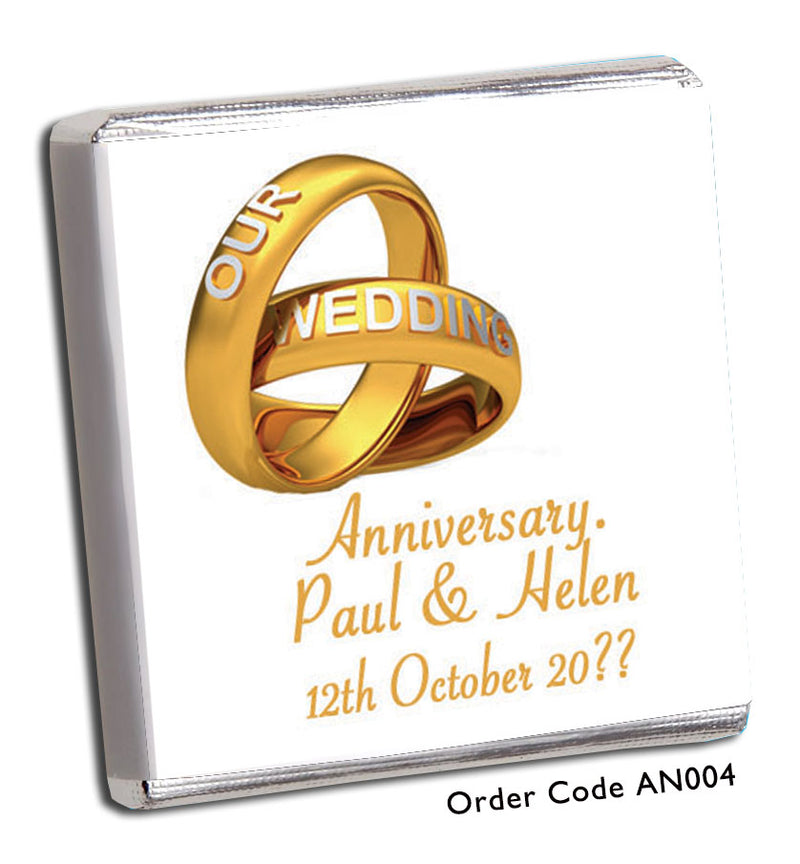 Gold Ring Wedding Anniversary Favour - Chunky Monkey Chocolate