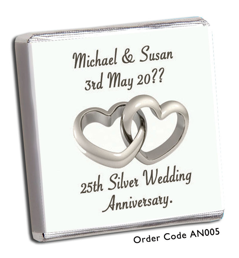 Silver Heart Anniversary Favour - Chunky Monkey Chocolate