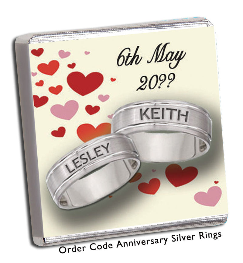 Silver bands with hearts wedding or Anniversary Favour - Chunky Monkey Chocolate