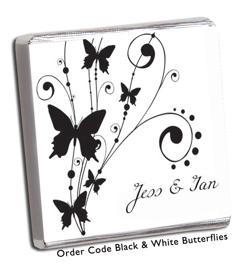 Black and White Butterfly Wedding Chocolates - Chunky Monkey Chocolate