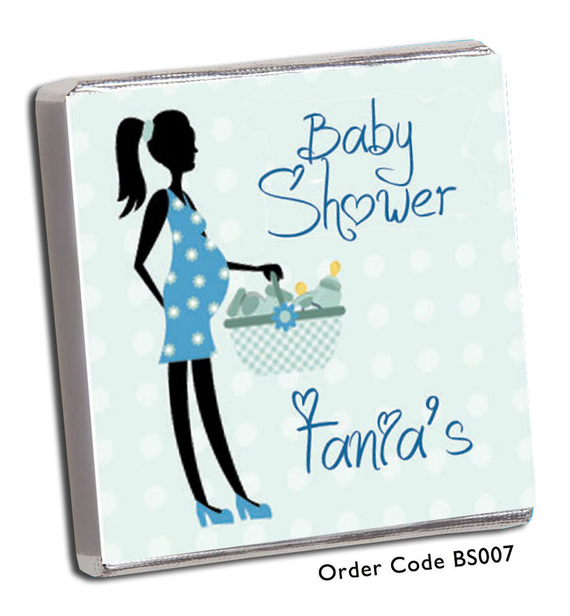 Blue Silhouette Baby Shower Chocolates - Chunky Monkey Chocolate