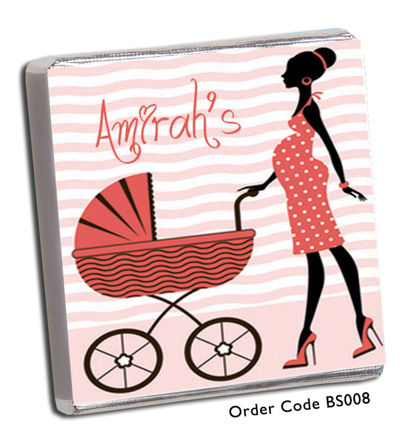 Coral Silhouette Baby Shower Chocolates - Chunky Monkey Chocolate