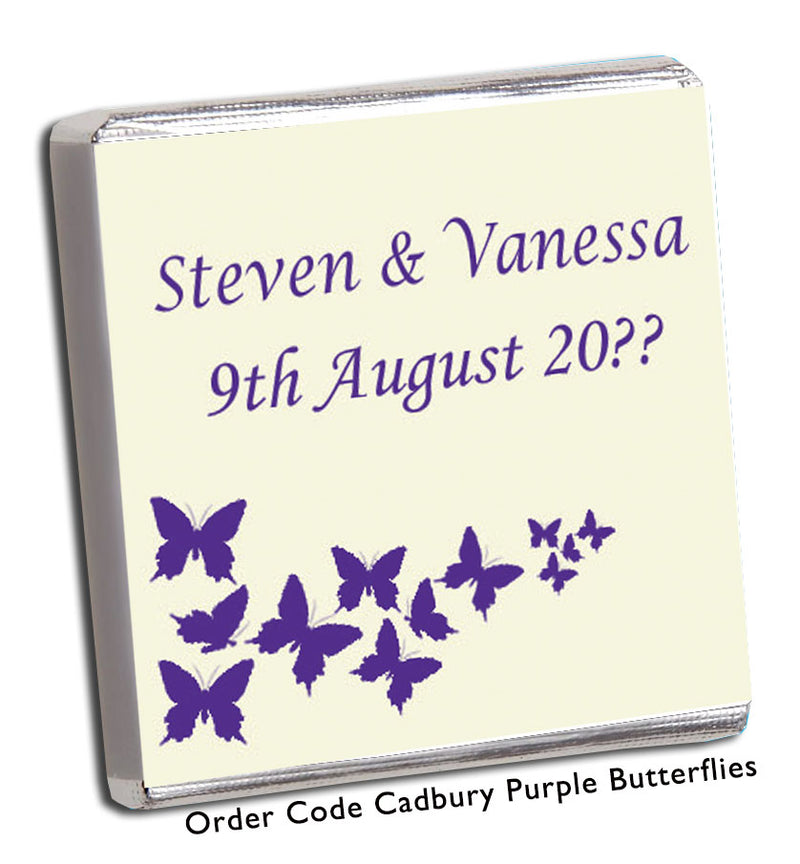 Cadbury Purple Butterfly Wedding Favours - Chunky Monkey Chocolate