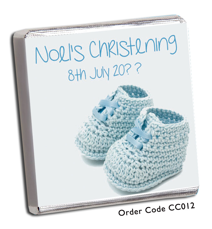 Baby Bootie Christening Favours Blue - Chunky Monkey Chocolate