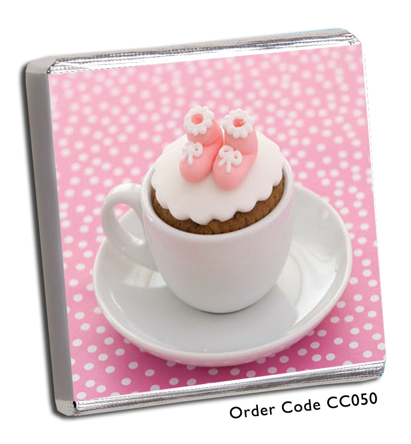 Pink Cup and Saucer Christening Chocolates - Chunky Monkey Chocolate