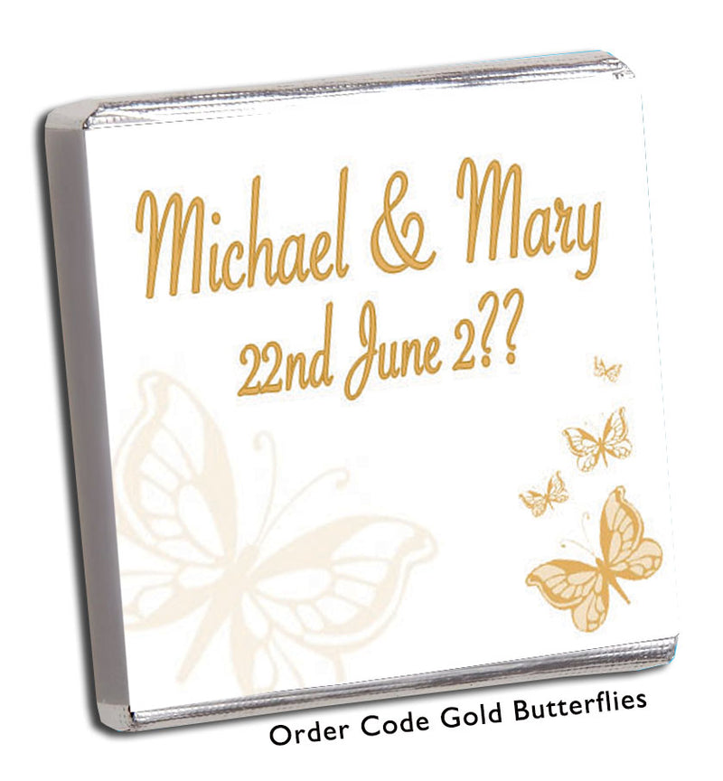 Gold Butterfly Wedding Favours - Chunky Monkey Chocolate