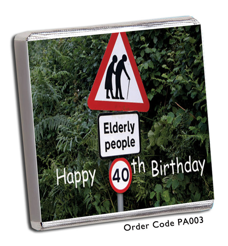 Fun Elderly Person Crossing The Road Party Favours - Chunky Monkey Chocolate