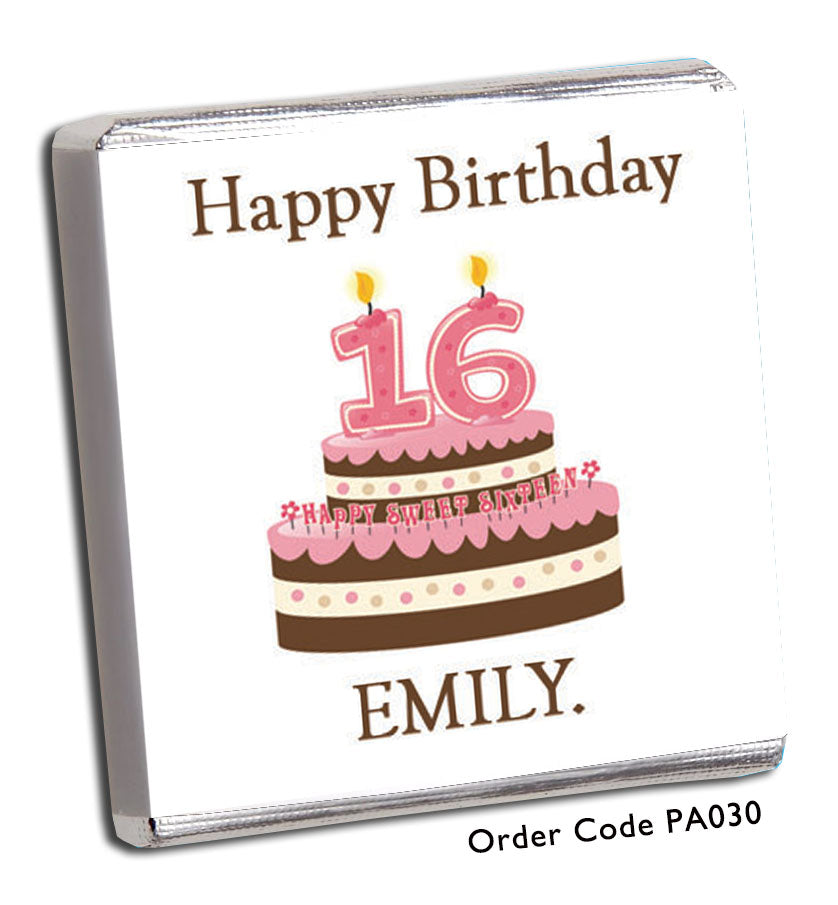 Fantastic Happy 16Th Birthday Chocolates Chunky Monkey Chocolate Personalised Birthday Cards Veneteletsinfo