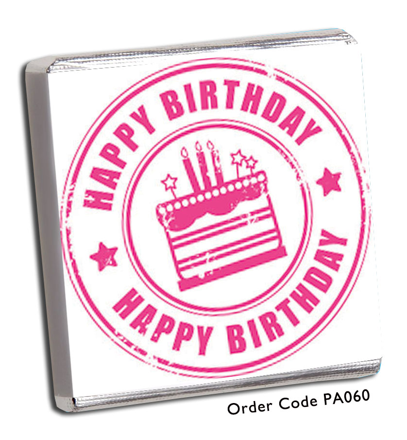 Pink Happy Birthday Stamp Effect Birthday Chocolates - Chunky Monkey Chocolate
