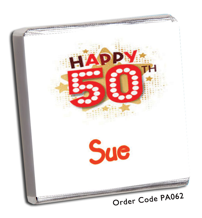 Neon Sign 50th Birthday Chocolates - Chunky Monkey Chocolate