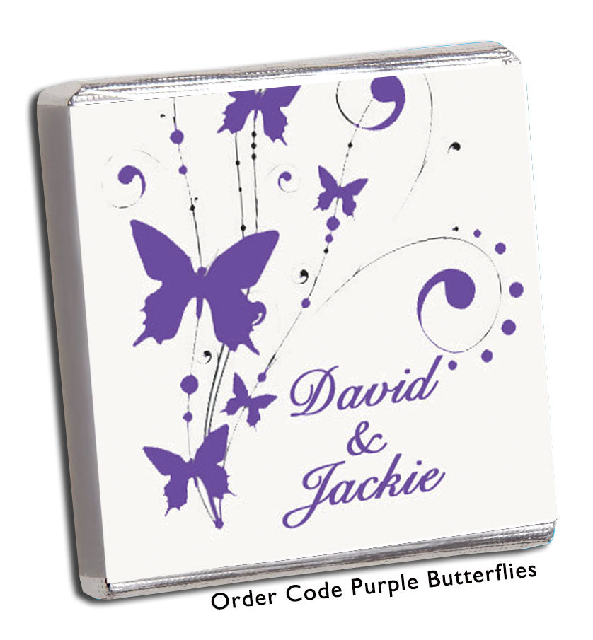 Purple Swirly Butterflies Personalised Wedding Favours - Chunky Monkey Chocolate