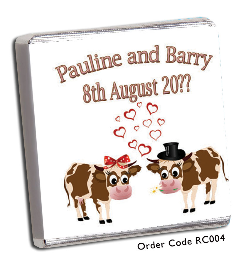Cow Wedding Favours - Chunky Monkey Chocolate