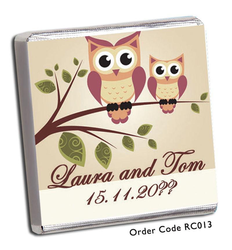 Owl Wedding Favours - Chunky Monkey Chocolate