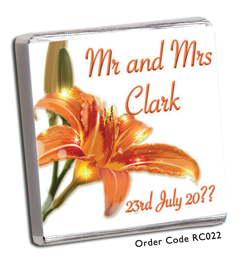 Orange Tropical Flower Wedding Favours - Chunky Monkey Chocolate