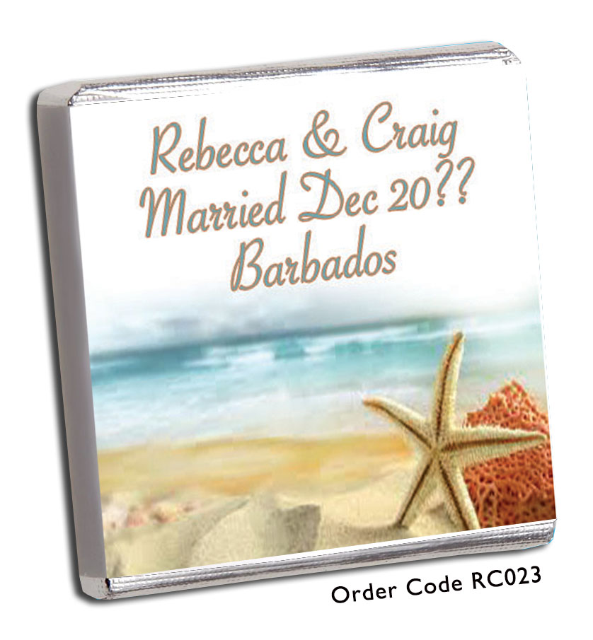 Beach Scene Wedding Favours - Chunky Monkey Chocolate