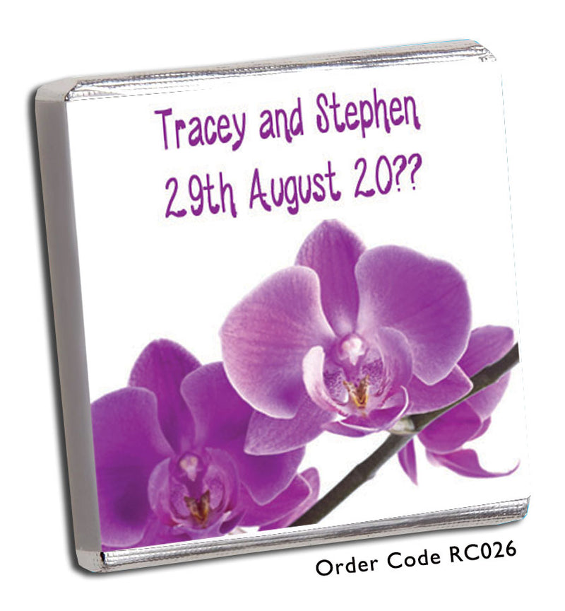 Purple Tropical Flower Wedding Favours - Chunky Monkey Chocolate