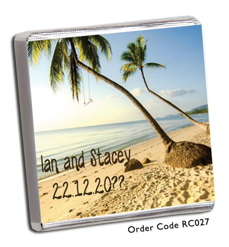 Tropical Beach Scene Wedding Favour - Chunky Monkey Chocolate