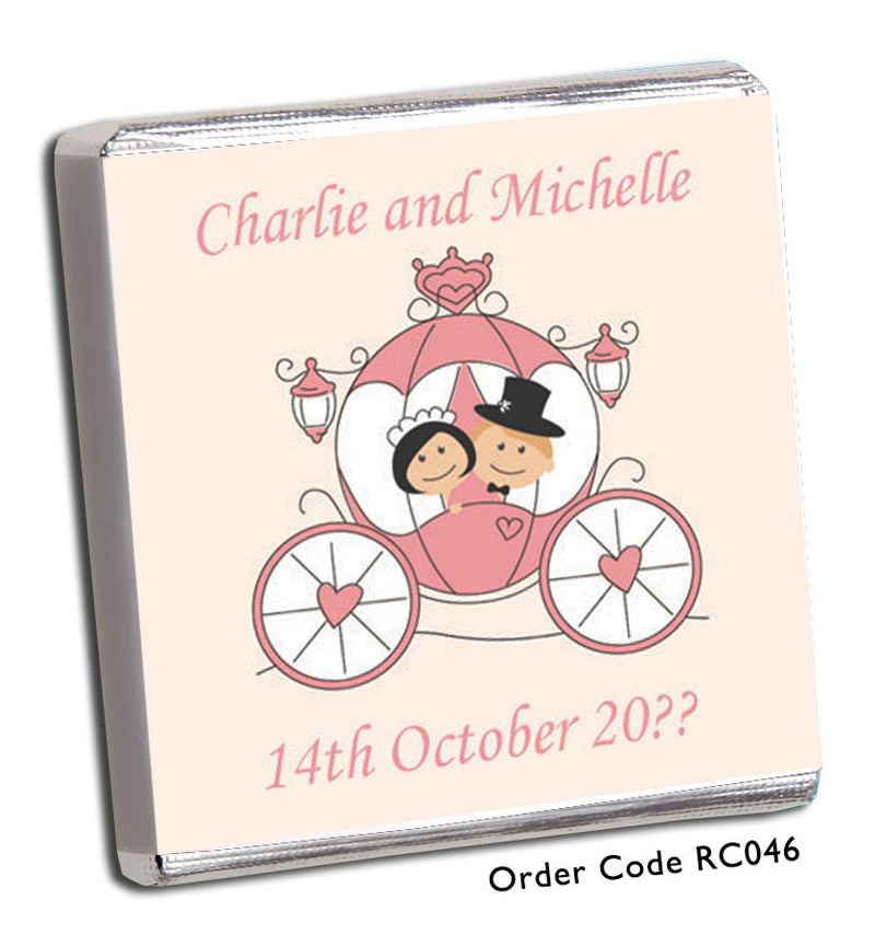 Princess Carriage Personalised Wedding Favour - Chunky Monkey Chocolate