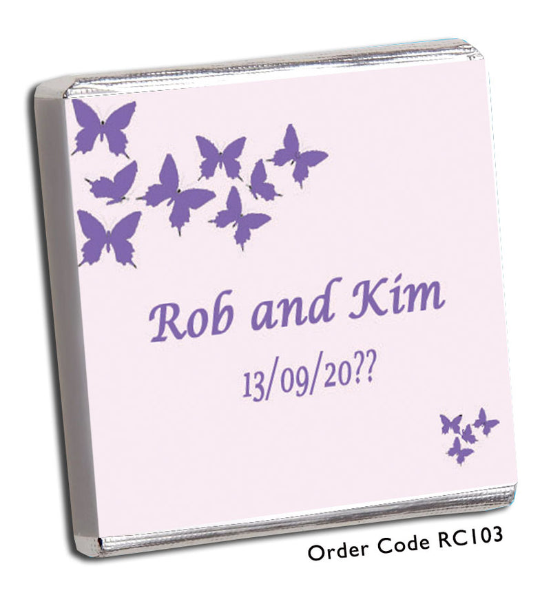 Pink & Purple Butterfly Wedding Chocolates - Chunky Monkey Chocolate