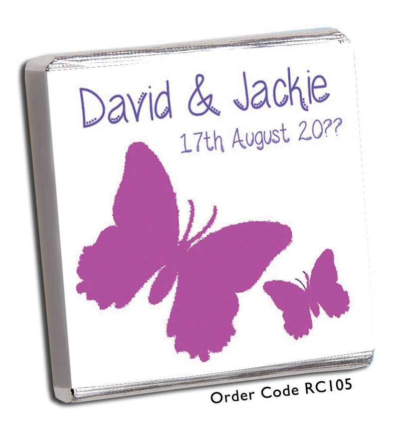 Large Butterfly Wedding Celebration Chocolates - Chunky Monkey Chocolate