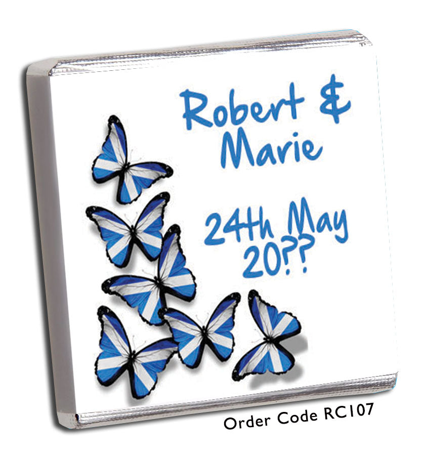 Scottish Flag Butterfly Wedding Favours - Chunky Monkey Chocolate
