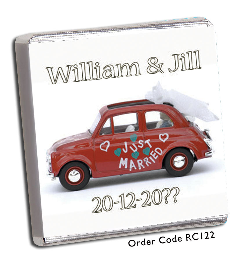 Just Married Red Car Wedding Favour - Chunky Monkey Chocolate