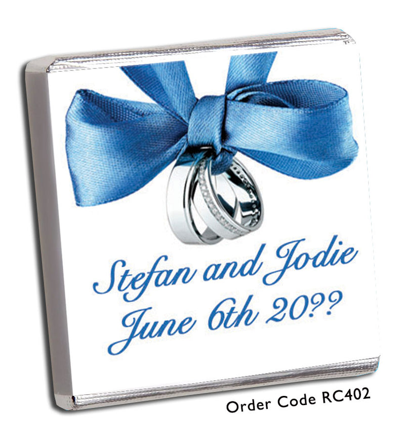 Blue Ribbon & Silver Bands Personalised Wedding Favour - Chunky Monkey Chocolate