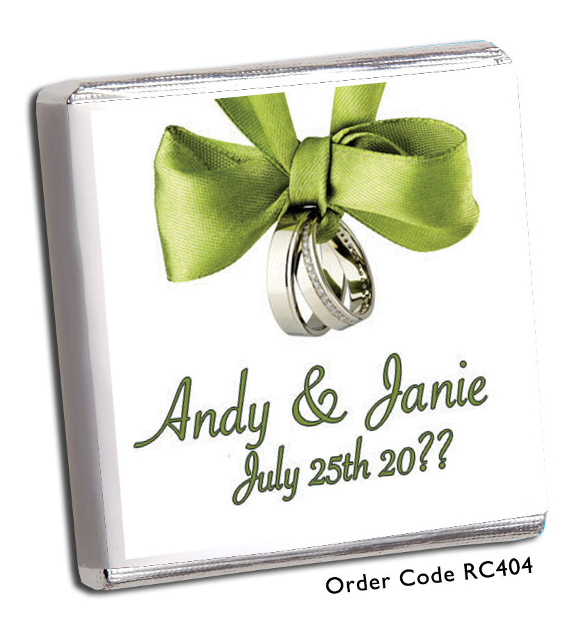 Green Ribbon & Silver Bands Wedding Favour - Chunky Monkey Chocolate