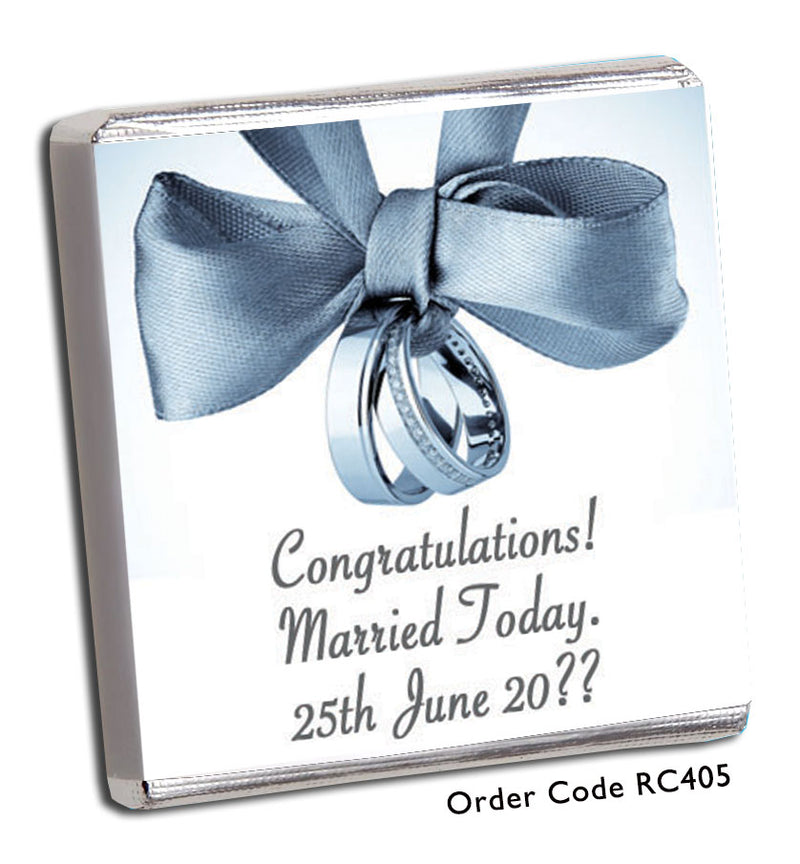 Grey Ribbon & Silver Bands Wedding Favour - Chunky Monkey Chocolate