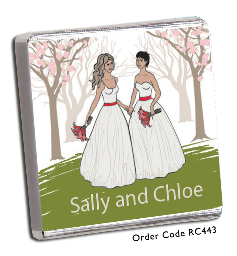 Dark & Light Haired Same Sex Wedding Favour - Chunky Monkey Chocolate