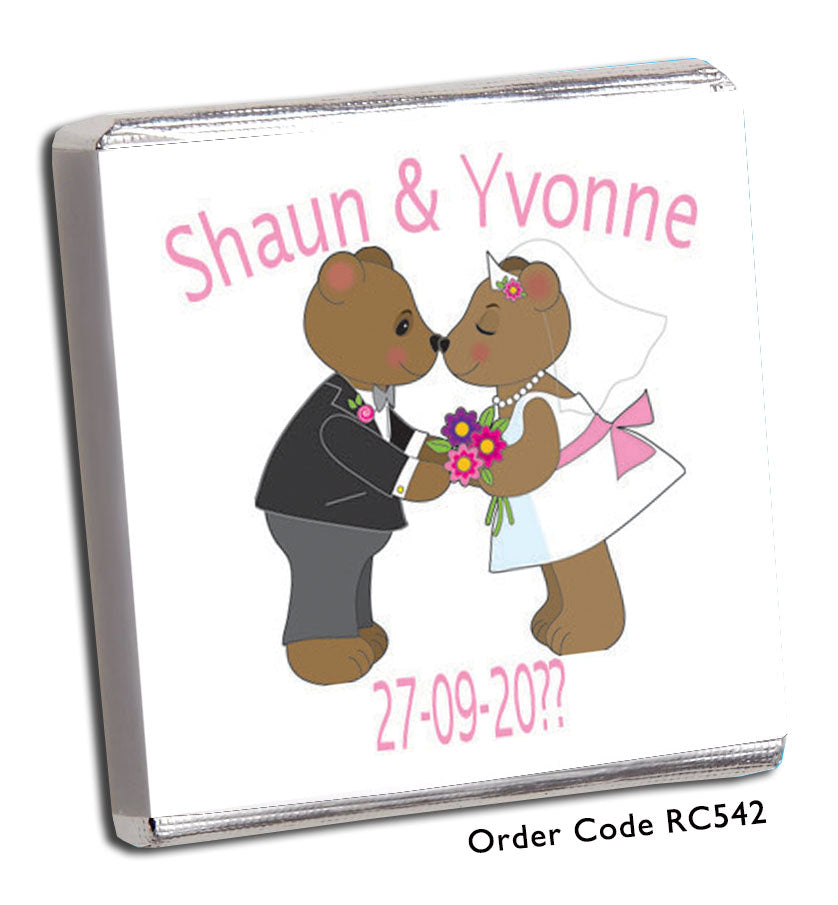 Kiss the Bride Chocolate Wedding Favours - Chunky Monkey Chocolate