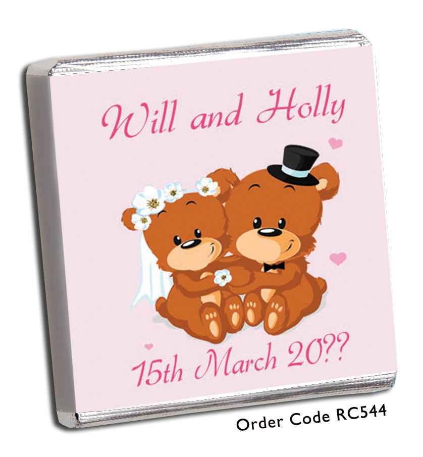Pink Teddy Bear Personalised Wedding Favours - Chunky Monkey Chocolate