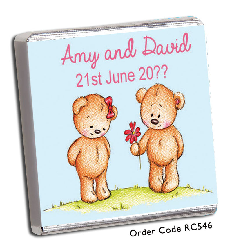 Teddy Bear Personalised Wedding Favours in Blue - Chunky Monkey Chocolate