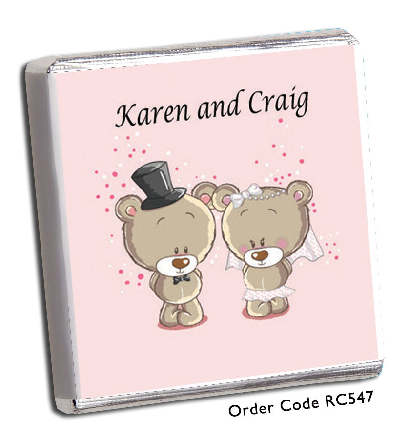 Teddy Bear Personalised Wedding Favours in Pink - Chunky Monkey Chocolate