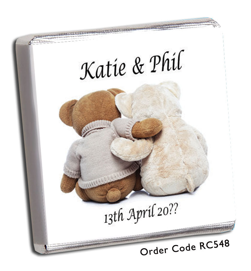 Cuddling Teddy Bear Personalised Wedding Favours in Pink - Chunky Monkey Chocolate