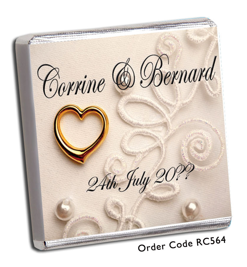 Lace and Gold Heart Personalised Wedding Favour - Chunky Monkey Chocolate