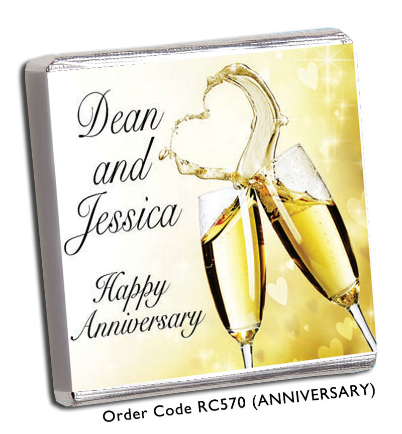 Heart Champagne Glass Wedding or Anniversary Favour - Chunky Monkey Chocolate