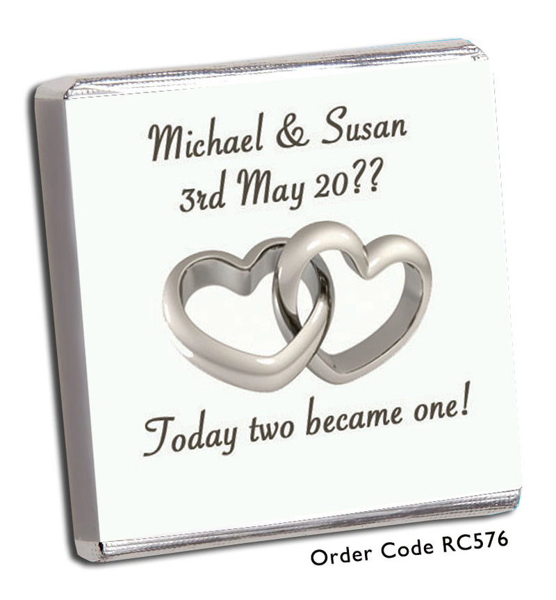 Two Become One Silver Hearts Wedding Favour - Chunky Monkey Chocolate