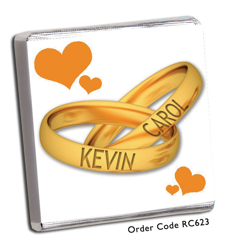 Gold Wedding Band Personalised Chocolate Wedding Favours - Chunky Monkey Chocolate