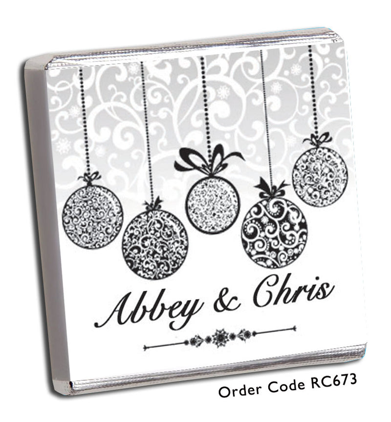 Silver Baubles Christmas Wedding Favour - Chunky Monkey Chocolate