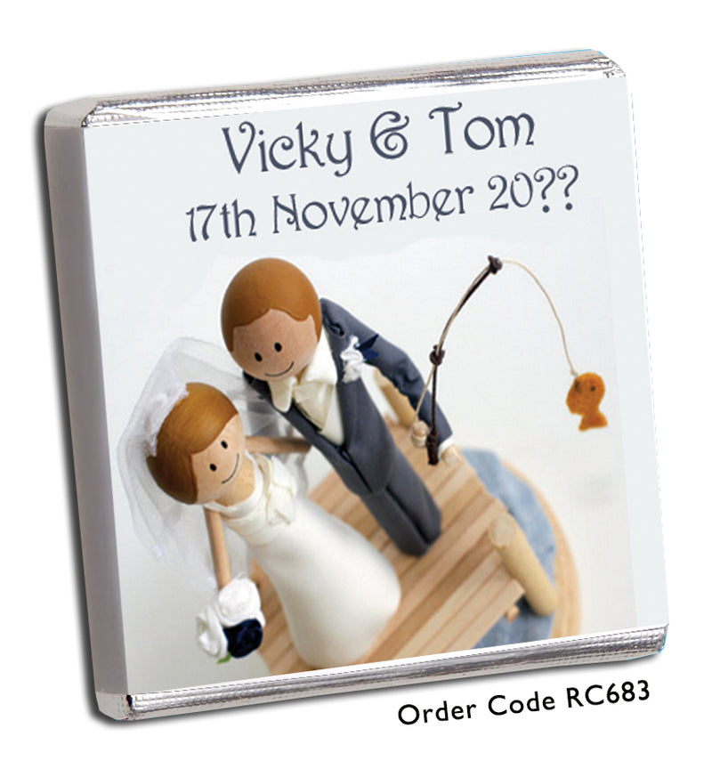 'Hooked' Fishing Themed Personalised Wedding Favours - Chunky Monkey Chocolate