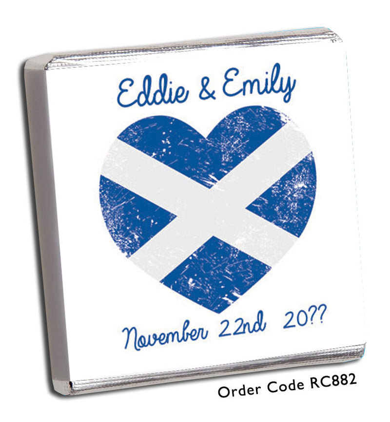 Scottish Flag Heart Shape Personalised Wedding Favours - Chunky Monkey Chocolate