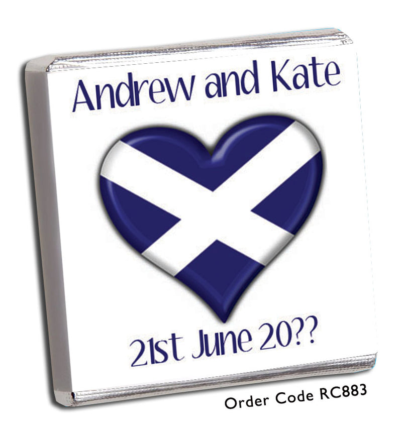 Saltire Heart Shape Wedding Favours - Chunky Monkey Chocolate