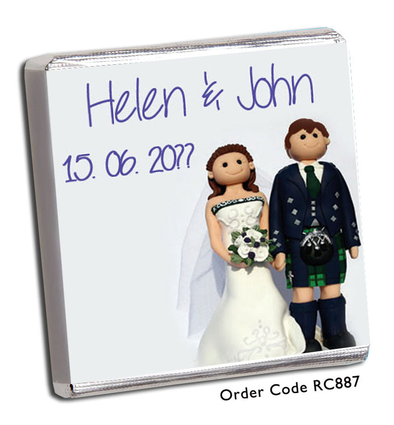 Scottish Bride & Groom Wedding Favour - Chunky Monkey Chocolate