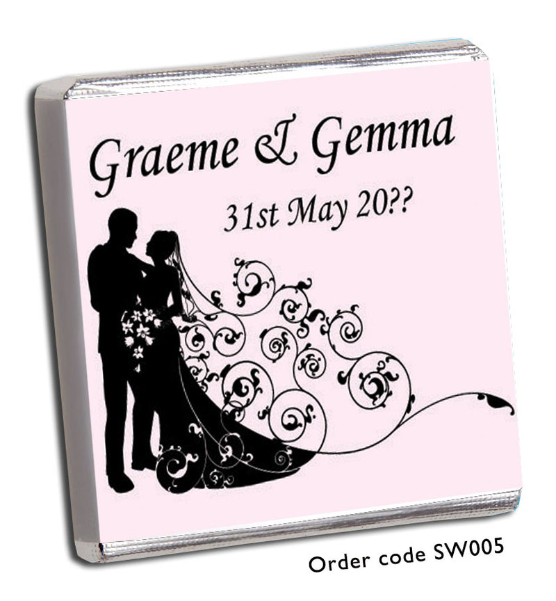 Silhouette Bride and Groom Chocolate Wedding Favours - Chunky Monkey Chocolate